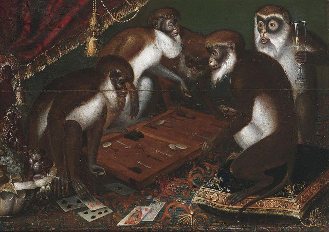 painting of backgammon playing baboons