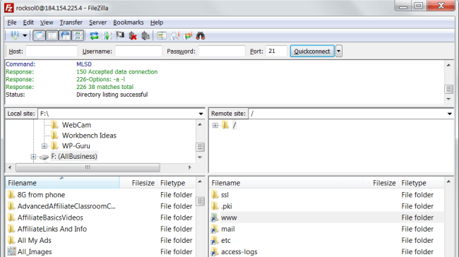 Screenshot of Filezilla by Will Adams 2013-1126